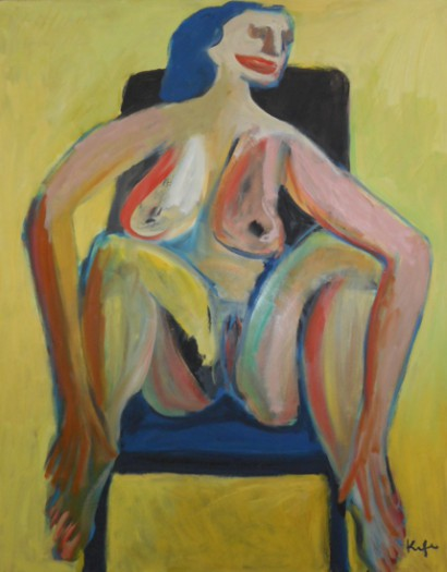 Alfred Kornberger, Akt auf blauem Sessel