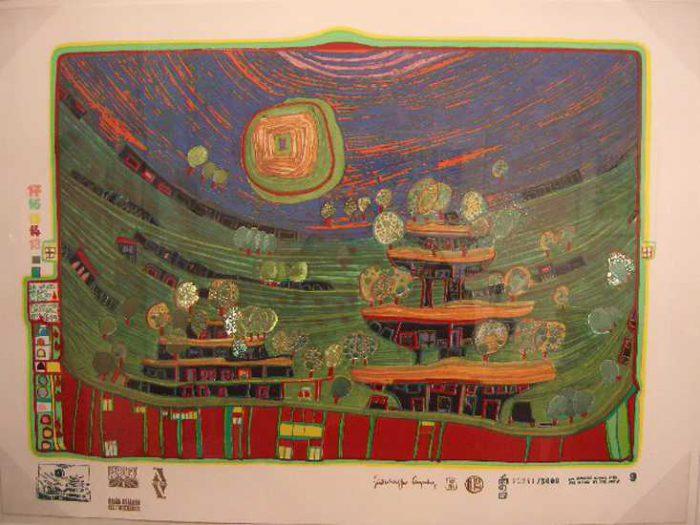Friedensreich Hundertwasser, Die Häuser hängen unter den Wiesen 699A