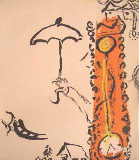 Chagall Marc, Uhr in der Landschaft