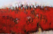 Schuster Karin, Skyline mit rotem Feld