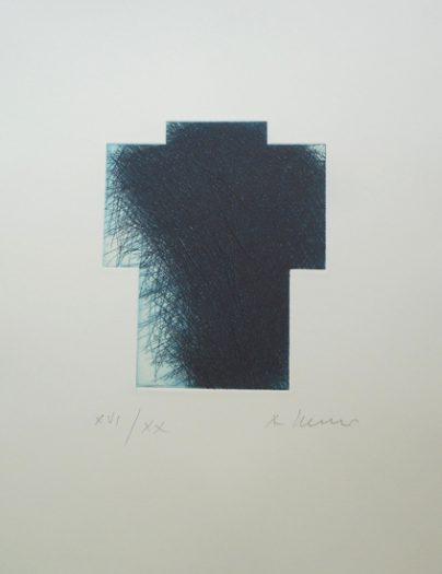 Arnulf Rainer, kleines Kreuz blau